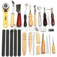 24x Leather craft punch tool kit stitching carving working sewing saddle groover