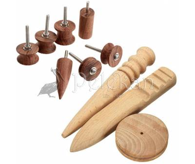 Multi-size burnishing, polishing leather edge slicker wooden tools