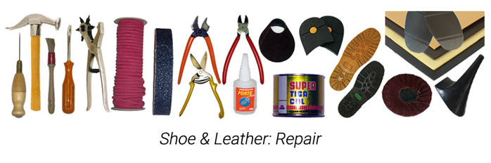 Shoe & leather repairing items